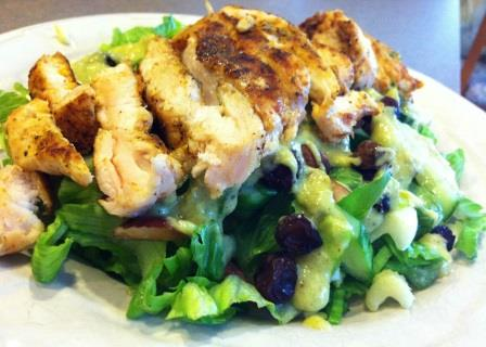 Curried Chicken Fresh Raisin Salad with Creamy Green Curry Dressing