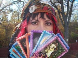 Me. In costume. Behind the fortune-telling cards.