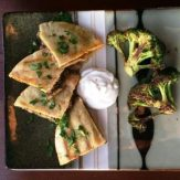Lebanese Lamb & Beef Arayes with Roasted Broccoli & Labneh