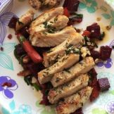 Center-Cut Pork Chops with Warm Beet, Carrot & Walnut Salad
