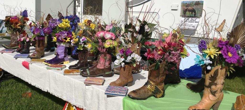 flea market boot vases