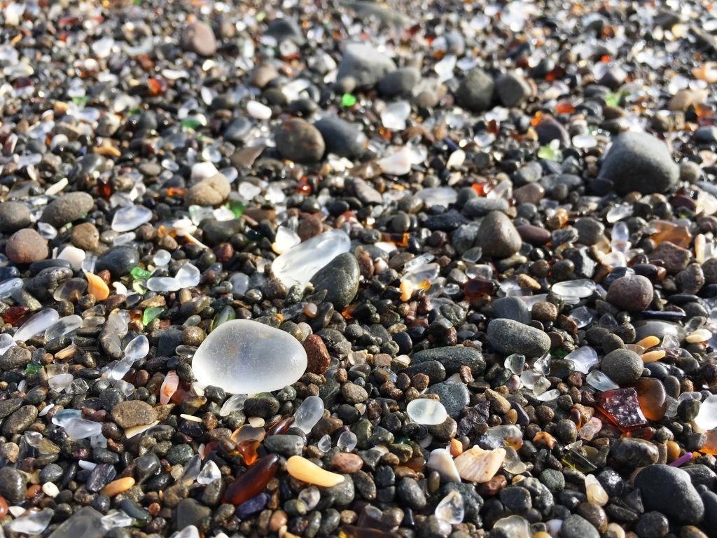 glass beach closeup