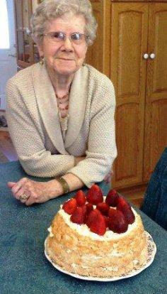 grandma with her cake